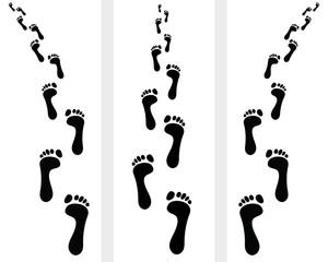 Trail of human bare footsteps, vector illustration