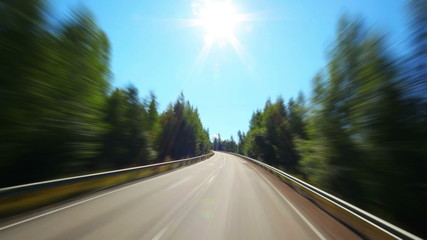 Road travel in Finland. Fast motion.