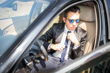 Business man in his car