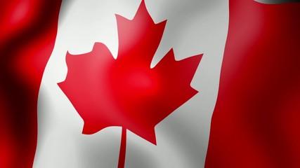 Canadian Flag - looping, waving, paning