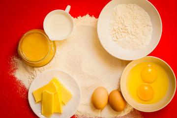 Preparation for baking, bake ingredients.