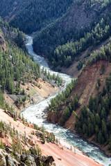 Yellowstone River winding through its canyon on a late summer da