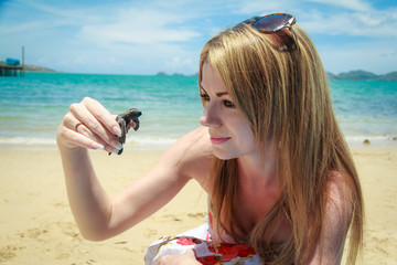Woman With Sea Turtle