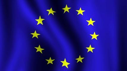 EU Flag - looping, waving, paning