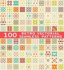 Retro different seamless patterns (with swatch).