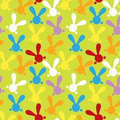 Colorful seamless patern with easter bunny. Illustration