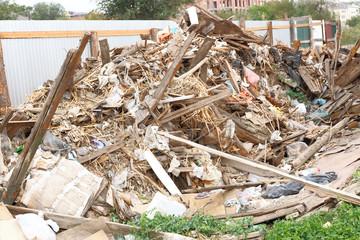 Demolition waste on the ground