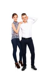 Portrait of happy couple isolated on white background