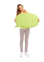 Speech bubble woman student blackboard