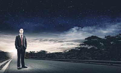 Businessman on road
