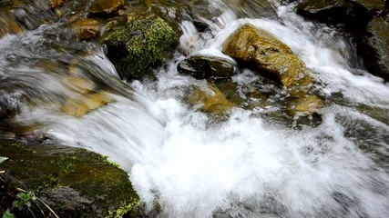 Mountain stream, water flow through color stones