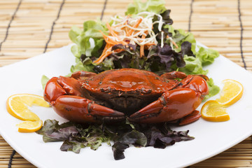Steam red crab