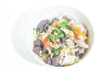 Thai rice vermicelli on white background