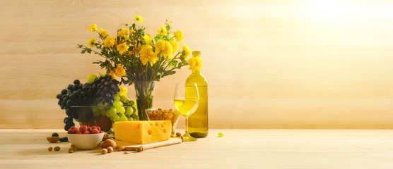 Still life with a glass of white wine