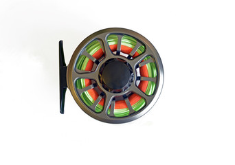 Fly-fishing reel isolated
