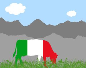 Kuh Alm und Italienfahne