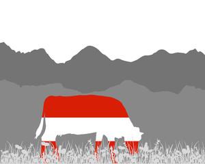 Kuh Alm und Oesterreichfahne