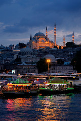Suleymaniye Mosque at night, Eminonu, Istanbul, Turkey.