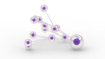 Verbundene Kugeln mit lila Kern