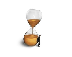 man holding the tilt hourglass