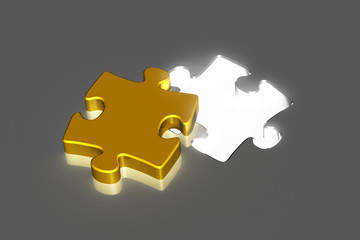 golden puzzle piece with bright hole