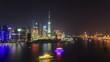 China Shanghai Huangpu River at Night, Timelapse.
