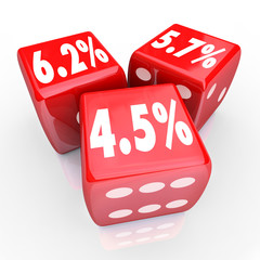 Interest Rate Percent Numbers Three Red Dice Refinance Debt Cred