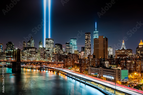 Fotobehang Artistiek mon. Tribute in Light memorial on 9/11/2014