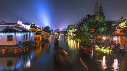 China ancient  water town architecture, night time-lapse.