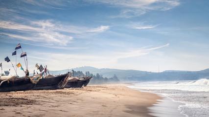 Fisherman boats on the beach