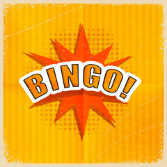 Cartoon Bingo on an old-fashioned yellow background. Retro style