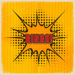 Cartoon Bingo on an old-fashioned yellow background. Vector illu