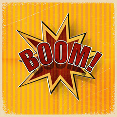 Cartoon Boom on an old-fashioned yellow background. Vector illus