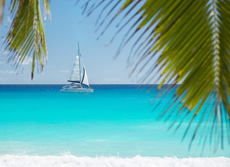 Tropical beach with yacht and palm leaves. Praslin, Seychelles