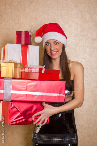 canvas print picture smiling woman in white clothes with gift box