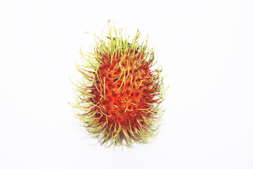 Single Rambutan on a white background