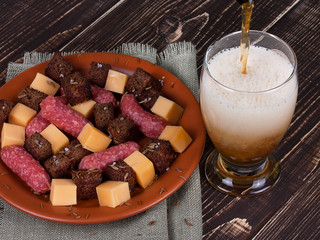Glass of beer, cheese and smoked sausages plate