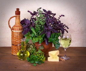 Still life with basil, celery, parsley, lettuce; cheese and wine