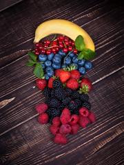 Strawberries, blueberries, blackberries, raspberries, currant