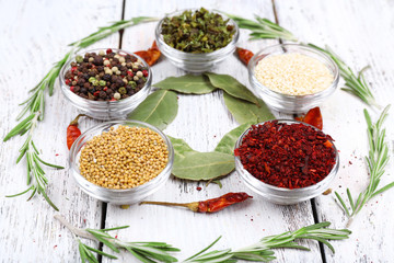 Spices with bay leaves, herbs and chilly pepper