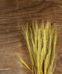 sheaf of wheat ears on the wooden background