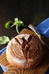 Fresh baked bread and fresh basil