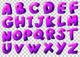 Purple letters of the alphabet