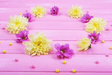 beautiful chrysanthemum flowers on pink wooden background