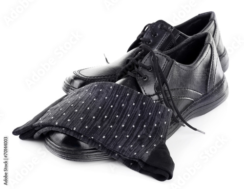 canvas print picture Black man's shoes and socks isolated on white