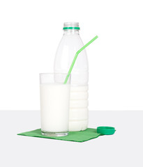 Milk bottle and glass on green, grey, white background.