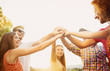 canvas print picture - Friends with hands in stack