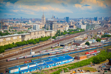 Moscow - historic district. Railroad in the foreground