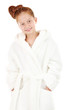 Beautiful little girl in bathrobe isolated on white