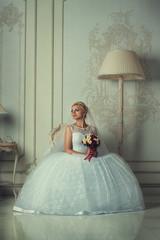 Portrait of a beautiful blonde bride